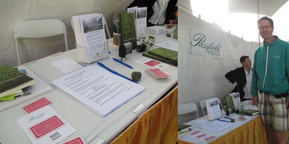Passfield Press marketing materials on display with author Michael Hetherington